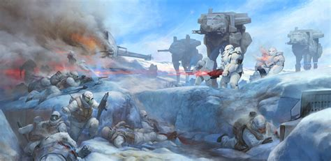 star wars battles concept art battle on planet hoth stepan alekseev on artstation at