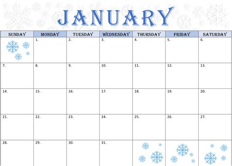 january calendar snowflake theme printable calendars