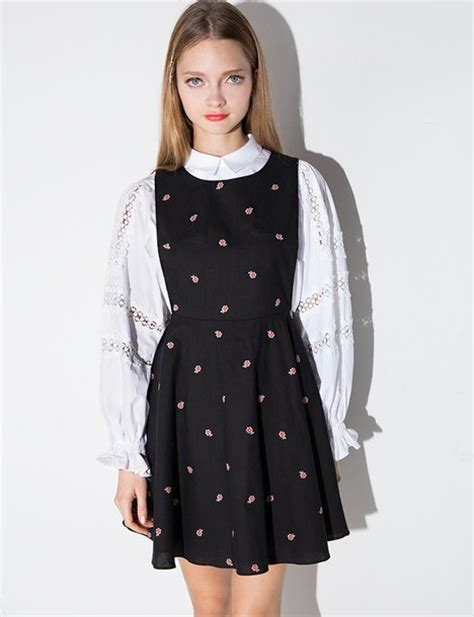 Floral Print Pinafore Dress dress black ditsy floral pinafore dress pinafore dress