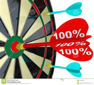 100 percent dart hitting dartboard perfect score stock images image