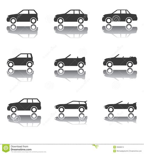 Car Types Icons by Set Of Car Icons Transportation Traffic Vehicles Stock