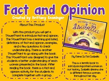 picture books to teach fact and opinion fact and opinion activity children s book unit by