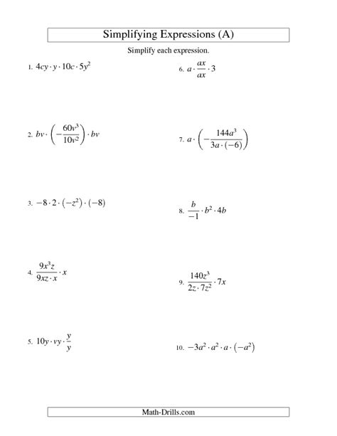 Simplifying Equations Worksheets by Algebra Worksheet Simplifying Algebraic Expressions