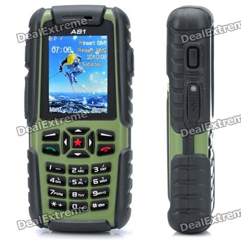 rugged gsm phone a81 ultra rugged waterproof gsm phone w 2 0 quot lcd dual sim quadband and java green 512mb tf
