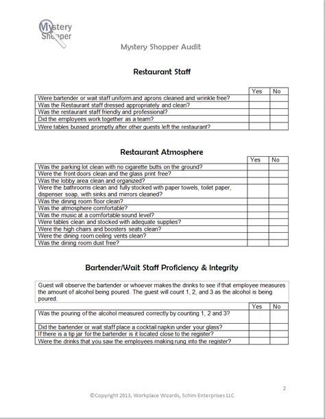 New Cumberland Pennsylvania Restaurant Consultants Restaurant Forms Checklists Workplace Restaurant Secret Shopper Template