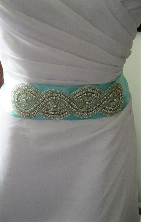 Tiffany Blue Wedding Belt with Rhinestone Decor, Bridal