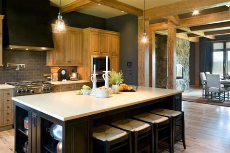 portland dark grey walls kitchen rustic with subway tile