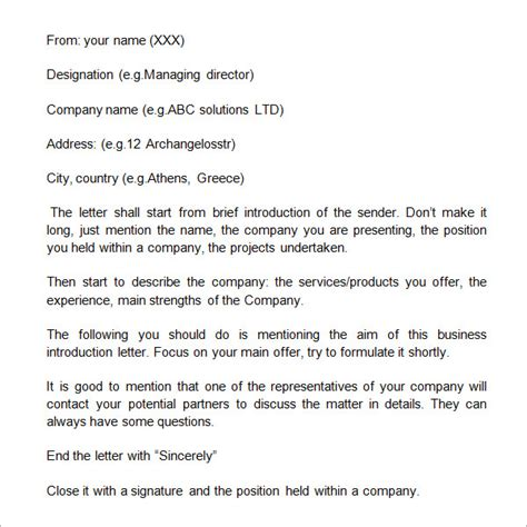 Sle Business Introduction Letter 9 Free Documents In Pdf Word Business Presentation Letter Template