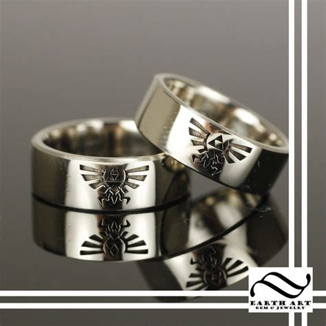 Custom Made Wedding Rings by Crafted Crest Of Hyrule Wedding Bands By Earth