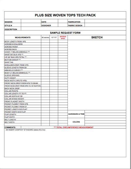 Plus Size Spec Sheet Blank Template Womens Mens Childrens Plus Size Apparel Tech Pack Spec Sheet Template Excel