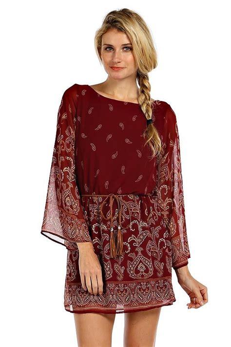 Sleeve Print Chiffon Dress boho print chiffon bell sleeve dress burgundy dresses