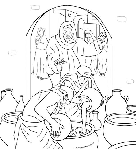 coloring pages jesus first miracle minuni iisus hristos transformarea apei in vin planse de