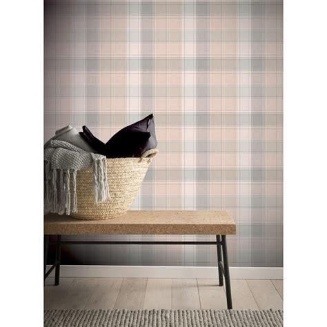 county check wallpaper pink grey diy wallpaper bm