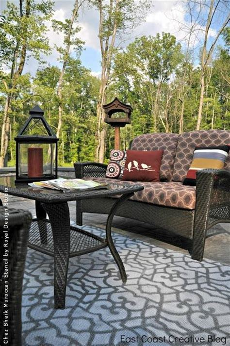 custom outdoor rugs for patios stencil paint and pattern ideas for stylish outdoor rugs royal design studio stencils