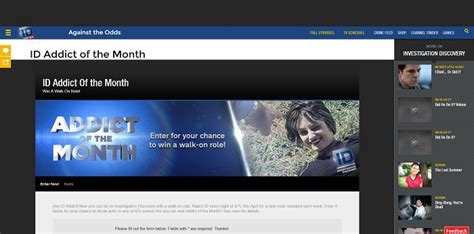 Investigation Discovery Addict Of The Month Sweepstakes - id addict of the month sweepstakes investigationdiscovery com addict win a walk on