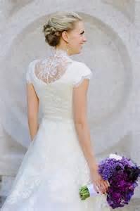 high neck lace modest wedding dress