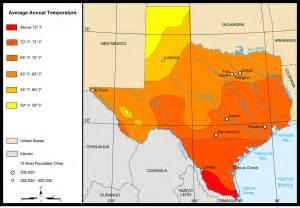 Average Temperature Tx Map Of Map Average Temperatures Worldofmaps Net