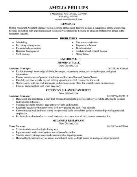 Resume For Restaurant Manager by Unforgettable Assistant Restaurant Manager Resume Exles