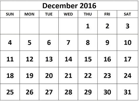 printable calendar december december 2016 printable calendar templates free