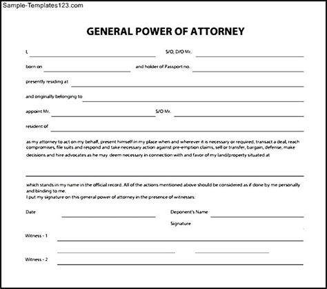 power of attorney template sle general power of attorney form sle templates