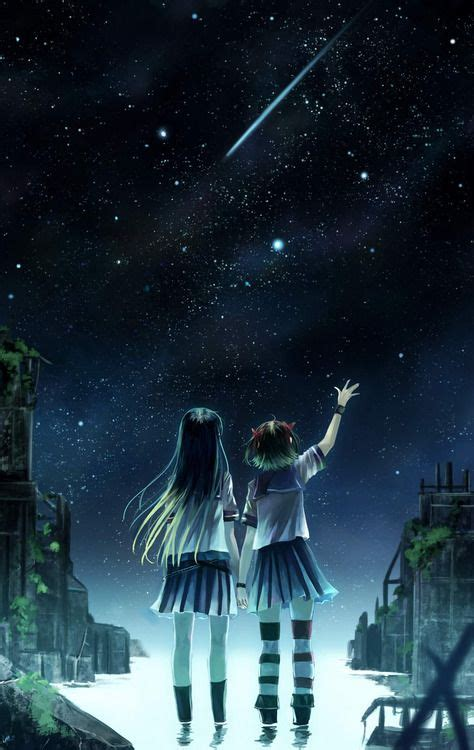 starry night sky girl anime sirousagimoon tumblr night sky shooting star anime