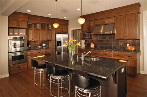 arts crafts kitchen quartersawn oak cabinets
