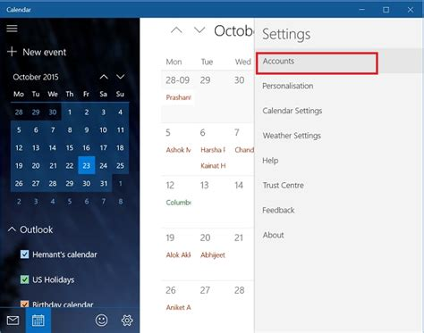 how to sync calendar with windows 10 mail app