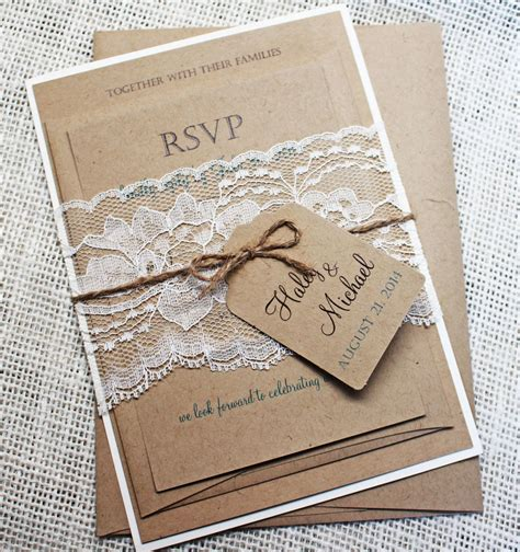 How To Make Handmade Invitations - rustic wedding invitation lace wedding by loveofcreating
