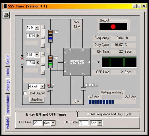 resistor calculator for 555 timer 555 timer design software