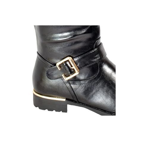 black flat shoes with gold buckle black gold buckle boots parisia fashion