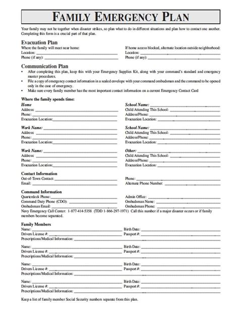 family emergency plan template national geographic