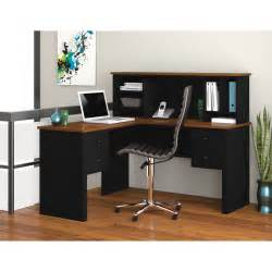 Black Desk With Hutch Bestar 45850 18 Somerville L Shaped Desk With Hutch Black Tuscany Brown Desks At Hayneedle