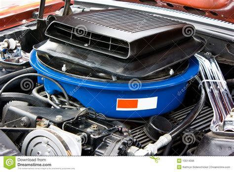 1969 ford mustang 8 cylinder engine royalty free stock
