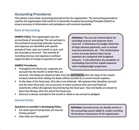 Policy And Procedure Template 10 Download Documents In Pdf Accounting Policy Manual Template