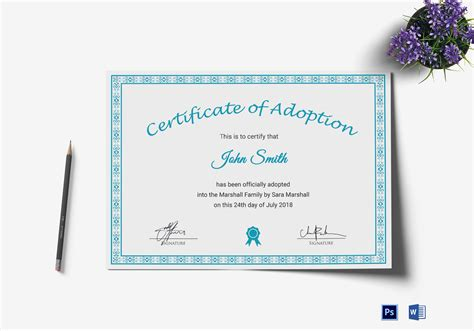 certificate of adoption template printable adoption certificate design template in psd word
