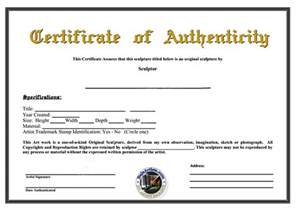 Certificate Of Authenticity Photography Template Search Results For Template Of Site Verification