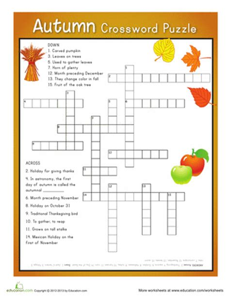 printable october puzzles autumn crossword puzzle free printable autumn and free