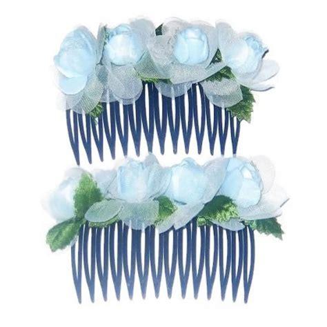 Set Of 2 Flower Hair Comb light blue two flower comb hair set