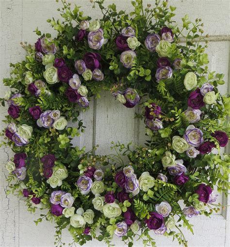 Front Door Wreaths For Summer Front Door Wreath Purple Wreath Summer Wreath Violet Fern
