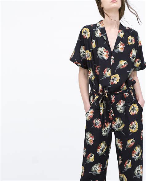 Zra Floral Rantai Original bnwt genuine zara new 2015 floral jumpsuit with lapel collar all sizes ebay