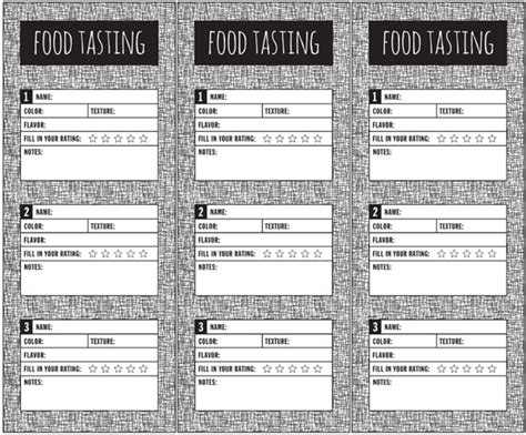 food tasting comment card template for word picky eater food tasting card paging supermom