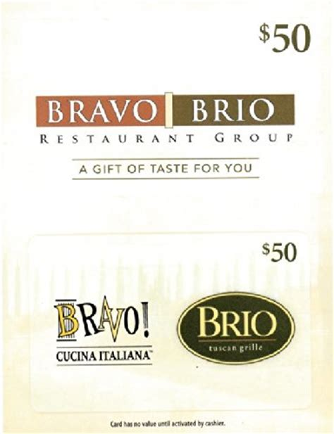 Bravo Gift Cards - bravo brio 50 gift card arts entertainment party celebration giving cards certificates