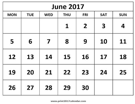 Calendar Of June Printable June 2017 Calendar