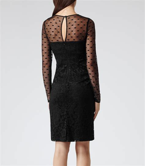 Dress Lace Polka diana black polka dot and lace dress reiss