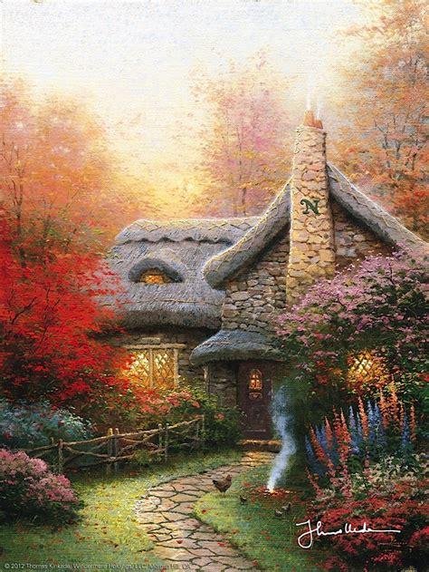 kinkade cottage kinkade autumn at s cottage 1992
