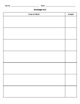 Scavenger Hunt Recording Sheet Blank By Always Drinking Coffee Scavenger Hunt Template