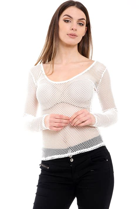 See Through Shirt by New Scoop Neck Sleeve Fishnet See Through