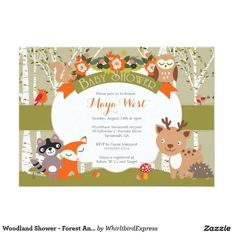 Woodland Themed Baby Shower Invitations by Woodland Shower Forest Animals Themed Baby Showe Card