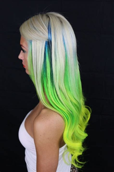 hair shadowing dark purple green and blonde on top brown on bottom white turquoise green and yellow hair colors ideas