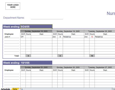 nursing roster templates best photos of nursing schedule template excel free